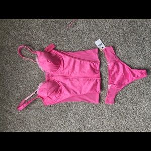 Betsey Johnson hot pink lingerie set 36C and S